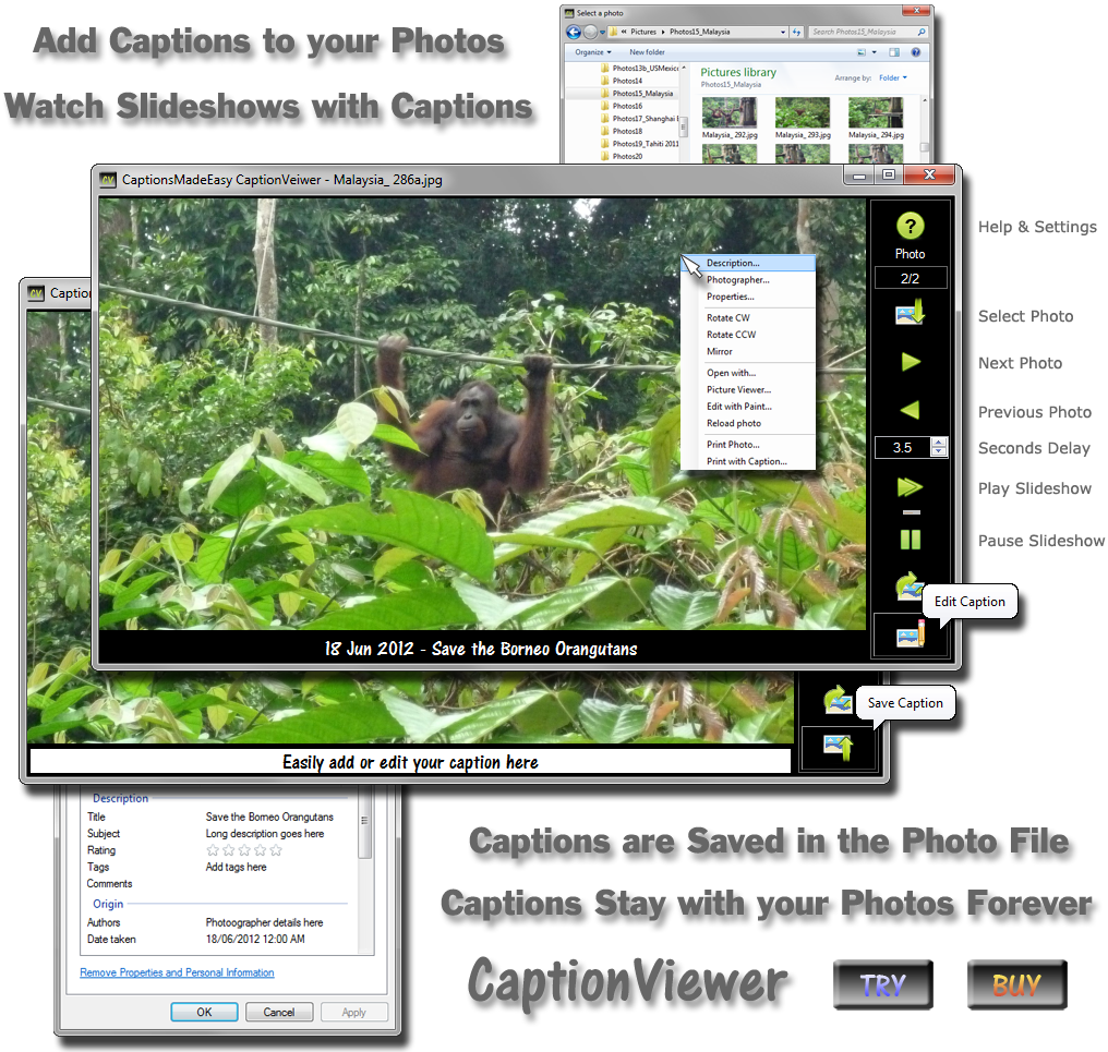 CaptionViewer: Add Captions to your Photos - Watch Slideshows with Captions